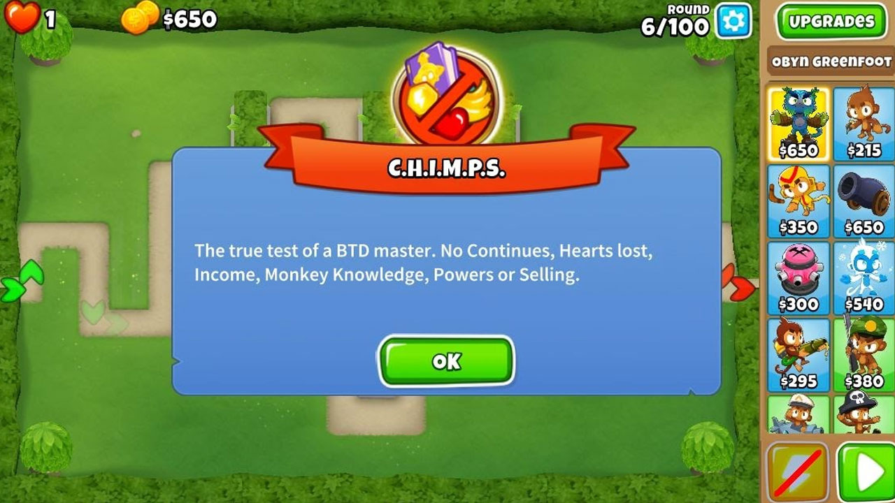 what is chimps mode in bloons td 6