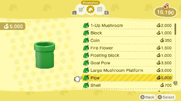 List of Mario Items in New Horizons