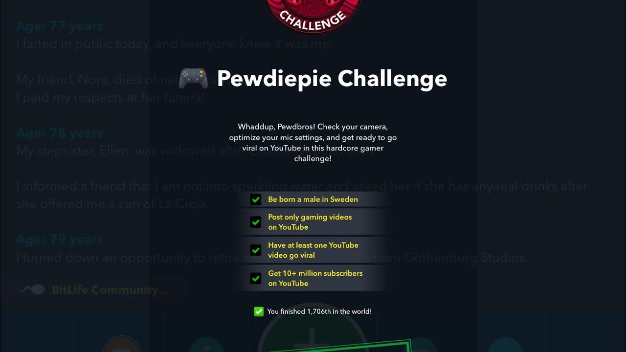 BitLife PewDiePie Challenge