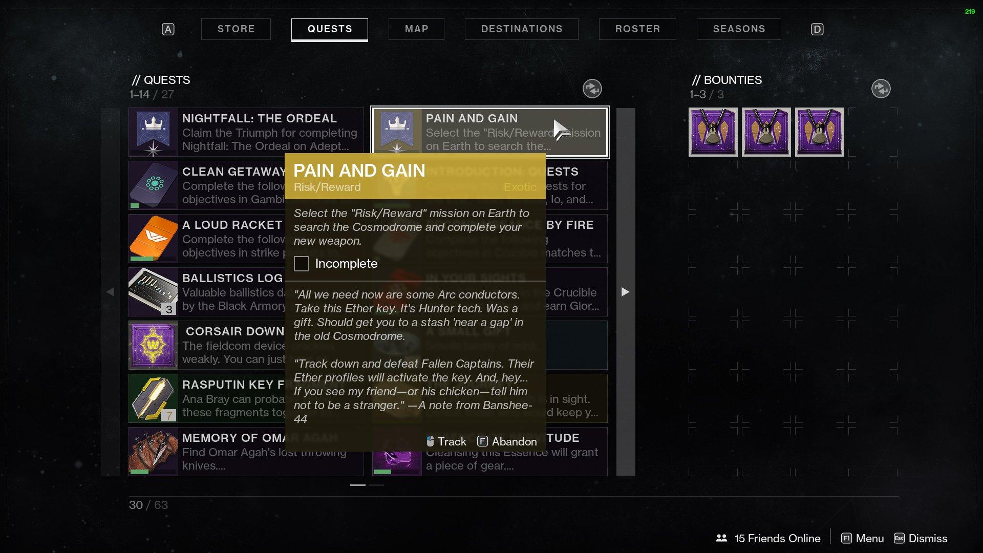Destiny 2 Pain and Gain Quest