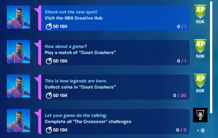 Fortnite NBA The Crossover Challenges 1