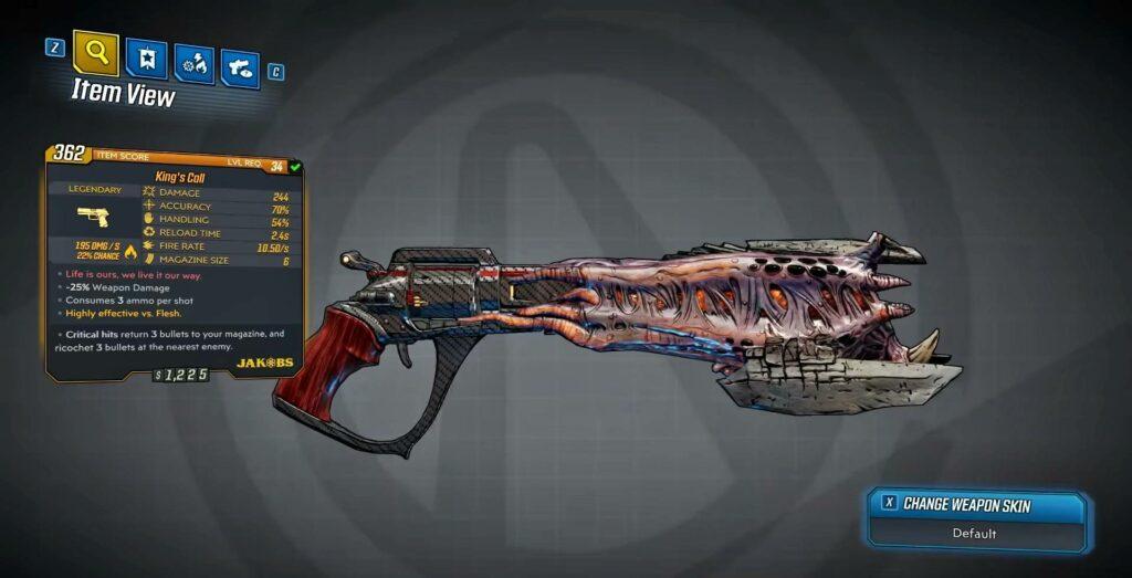 Borderlands 3 King's & Queen's call pistol